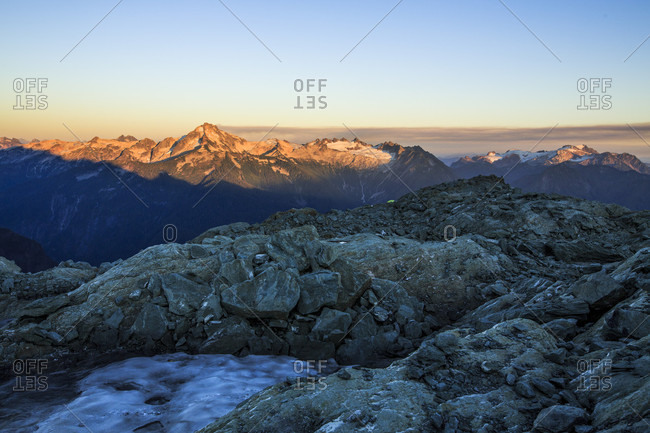 Sunset in North Cascades National Park as seen from a glacier on Mount Shuksan. The National Park has some of the most glaciated peaks in the lower 48 states of the U.S.