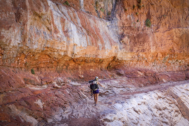 Young woman hiker traversing alone massive sandstone features of Grand Canyons North Rim, Grand Canyon, Arizona, USA