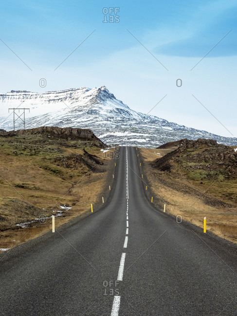 Route 1?(Ring?Road)?in southern of Iceland in front of snowcapped mountain, Road 1, South Iceland, Iceland