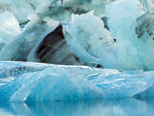 Close up on ice chunks at Glacier Lagoon, Southern Iceland, Iceland
