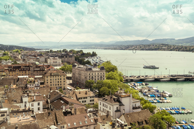 Picturesque cityscape?with buildings, river and bridge, Zurich, Switzerland?