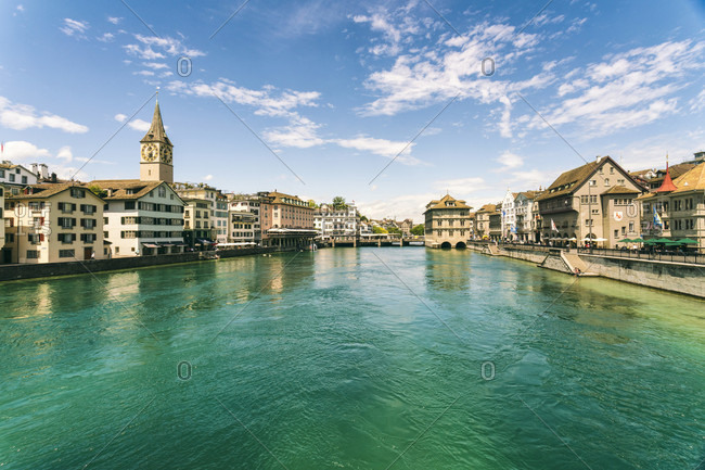 July 12, 2017: Picturesque cityscape?with old town and?Limmat?river, Zurich, Switzerland