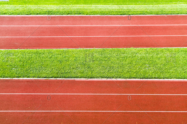 Abstract view of running track in sport ground,?Lucerne, Switzerland