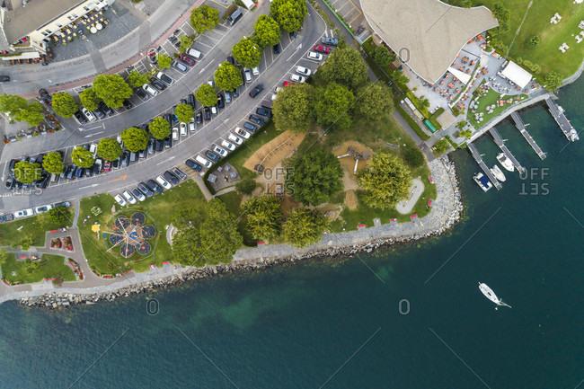 Ascona town promenade on Lake Maggiore seen from directly above, Locarno, Canton Ticino, Switzerland