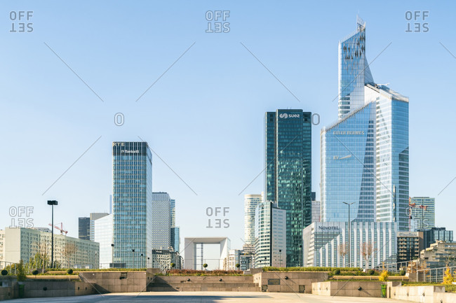 October 14, 2017: Modern architecture and towers, skyscrapers at La Defense. La Defense is a major business district, three kilometers west of city limits of Paris, Ile-de-France, France