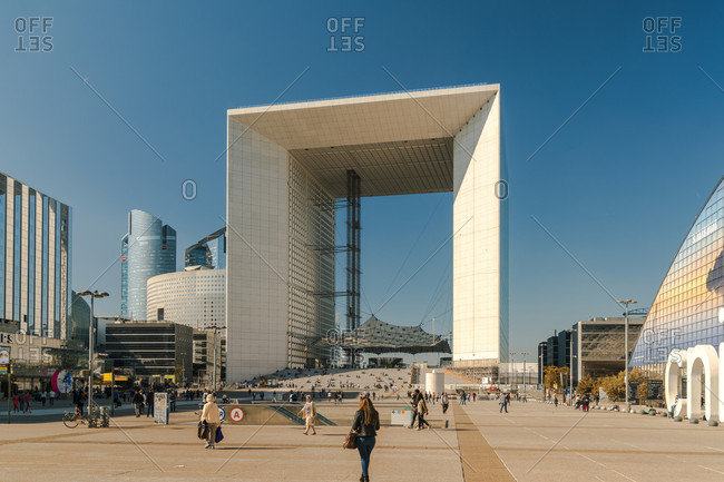 October 14, 2017: Grande Arche in La Defense district under clear sky, Paris, Ile-de-France, France