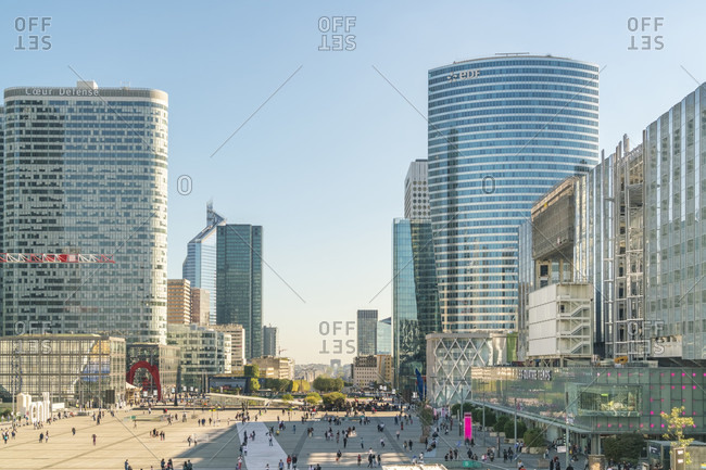 October 14, 2017: Modern architecture and towers, skyscrapers in La Defense. La Defense is a major business district, three kilometers west of the city limits of Paris, France