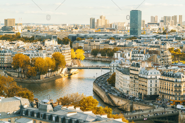 October 13, 2017: View of Paris from Saint Jacques Tower with Ile Saint-Louis and Ile de la Cite in the foreground, France