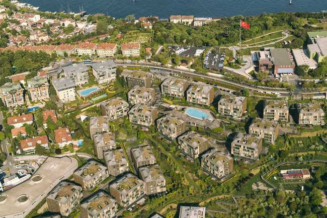 Aerial view of seaside residential district, Istanbul, Turkey