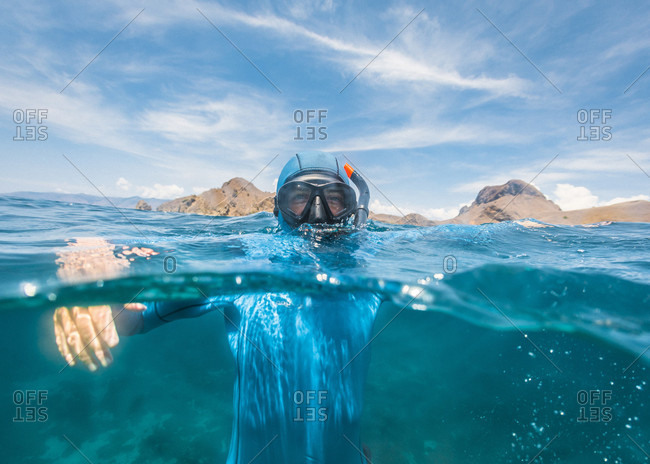 Freediver in the water, Komodo, Nusa Tenggara Timur, Indonesia
