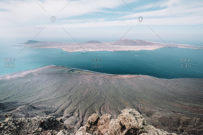 Isla de La Graciosa from viewpoint at Mirador del Rio, Lanzarote, Spain