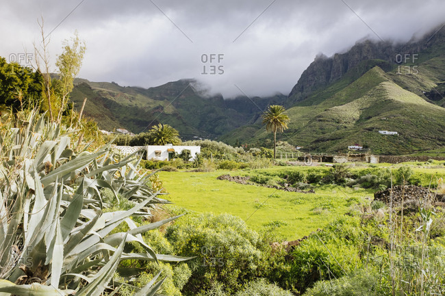 View of Valle de Agaete and mountains in clouds, Gran Canaria, Canary Islands, Spain
