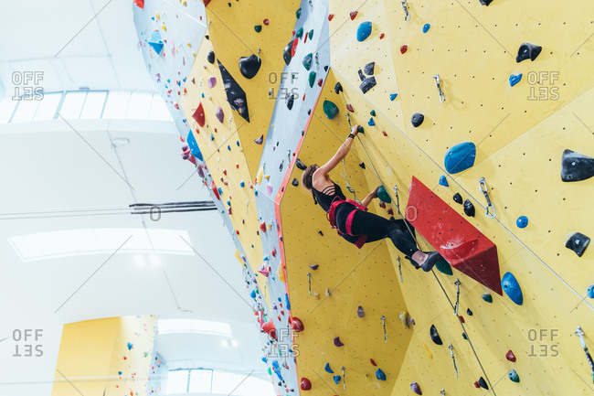 Young man preparing himself in a climbing gym - preparation, concentration, sportive concept
