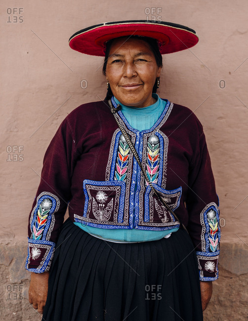 Lake Titicaca, Peru - November 22, 2017: Portrait of a Peruvian woman in traditional clothing