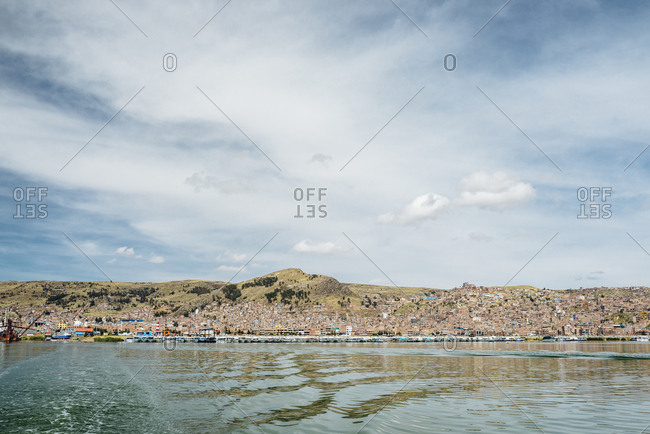 Landscape in the Andes Mountains, Lake Titicaca, Peru
