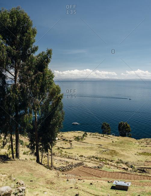 Elevated view over Lake Titicaca, Peru
