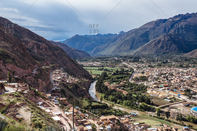 Hillside village in the Sacred Valley in the Andes Mountains, Peru