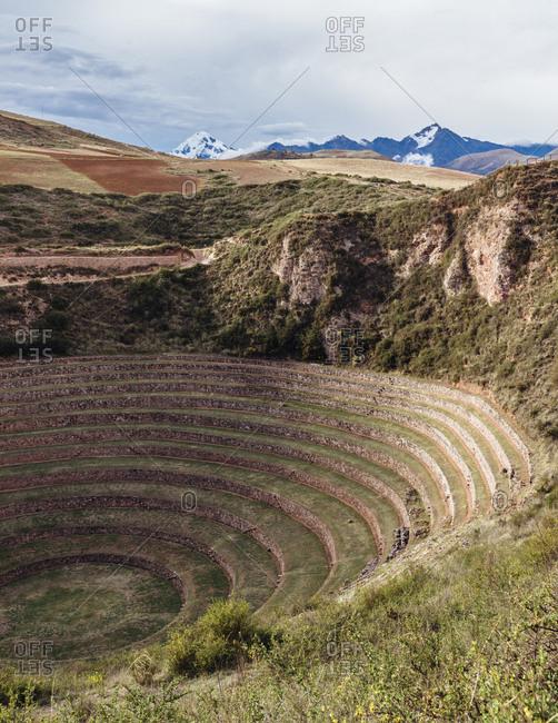 The Incan terraces at Moray, Peru