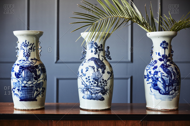 Antique vases on a credenza