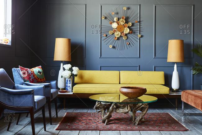 Living room interior with retro decor