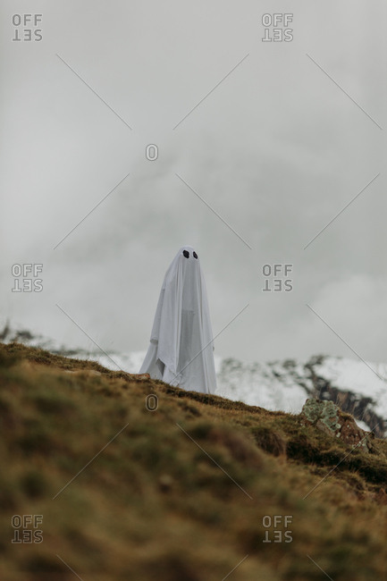 Person in ghost costume on mountainside
