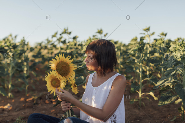Woman holding sunflowers while sitting in a sunflower field