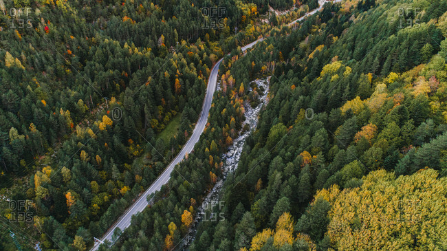 Aerial view over rural road and colorful trees in France