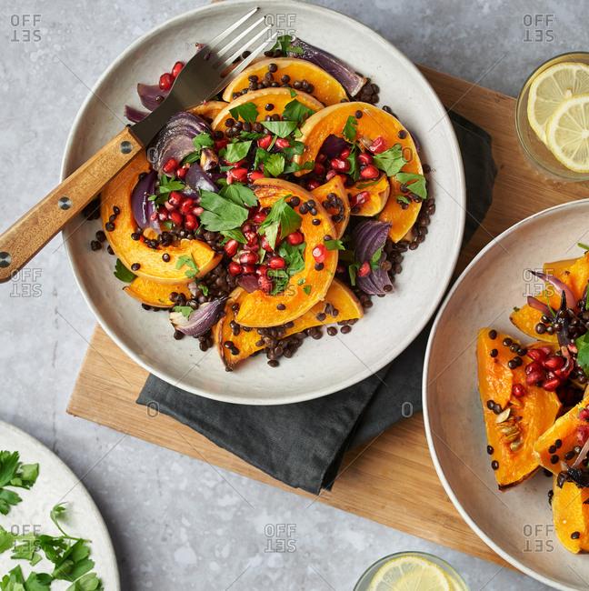 Autumnal roast squash salad