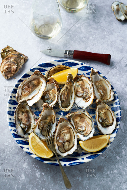 Fresh shucked oysters and white wine