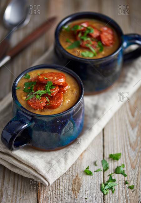 Green lentil and chorizo soup