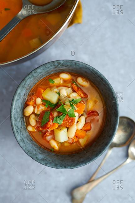 Homemade chorizo and white bean soup