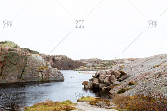 Rocky landscape and lake in Smogen, Sweden