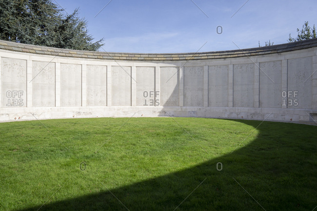 Belgium - September 29, 2018: Memorial wall on Tyne Cot Cemetery, the largest British military cemetery in the world.