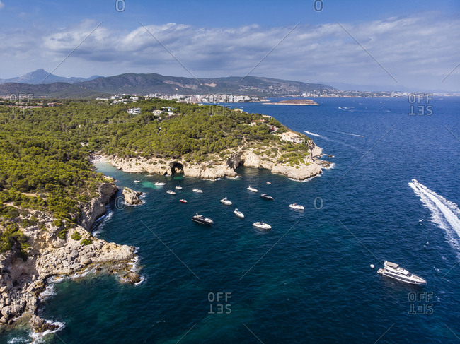 Spain- Mallorca- Calvi- Aerial view of bay Cala Falco and Cala Bella Donna
