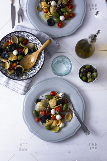 Mediterranean orecchiette with tomato- olives- mozzarella