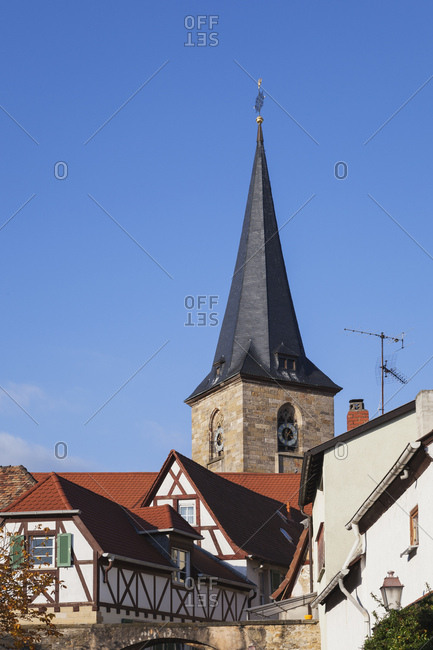 Germany- Rhineland-Palatinate- Freinsheim- typical half-timbered houses in wine village center and church