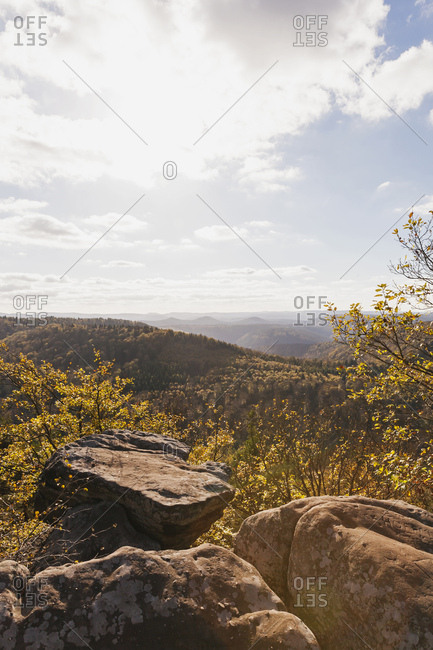 Germany-Rhineland-Palatinate- Pfalz- View from Drachenfels- Palatinate Forest Nature Park in autumn