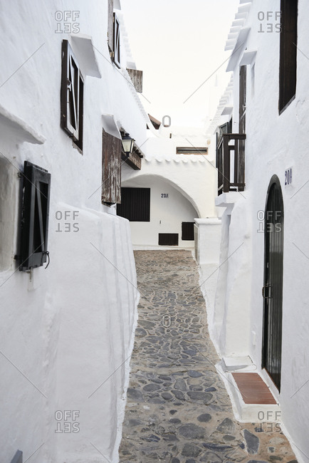 Spain- Menorca- Binibequer- view at alley