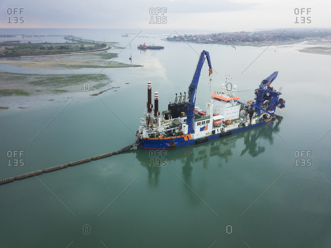 August 30, 2018: Indonesia- Bali- Aerial view of ship for petroleum production