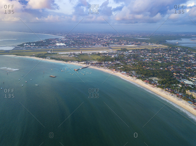 Indonesia- Bali- Aerial view of Jimbaran beach