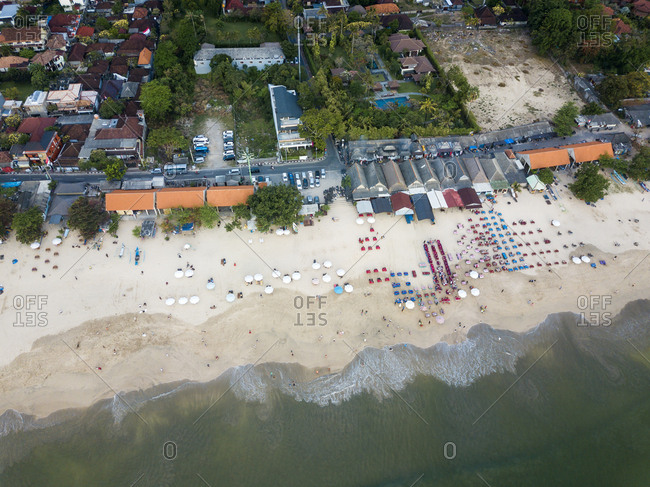 Indonesia- Bali- Aerial view of Jimbaran beach