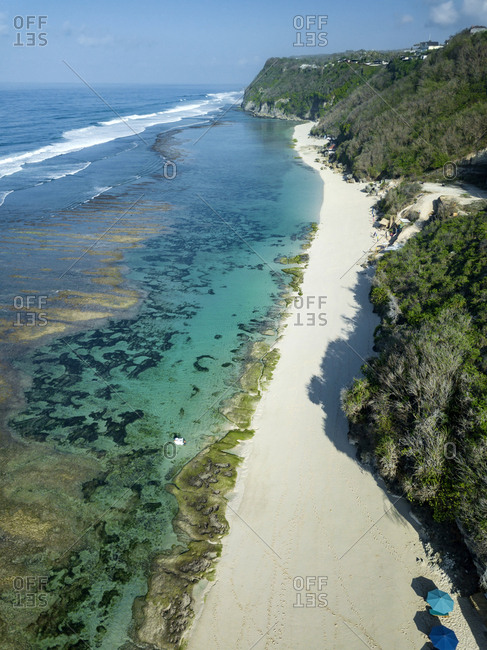 Indonesia- Bali- Aerial view of Karma Kandara beach
