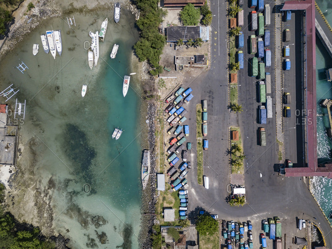 Indonesia- Bali- Aerial view of Padangbai- port from above