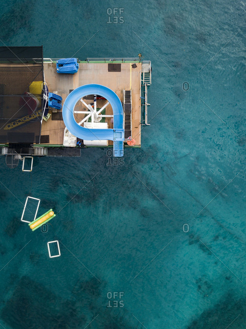 Indonesia- Bali- Aerial view of bathing platform