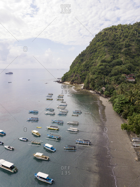 September 19, 2018: Indonesia- Bali- Aerial view of banca boats and beach