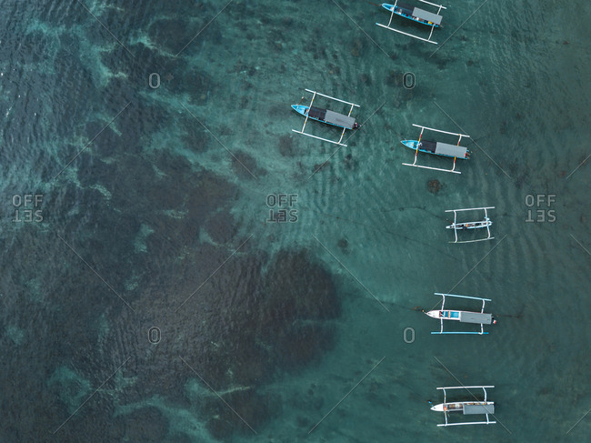 Indonesia- Bali- Aerial view of banca boats