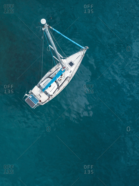 Indonesia- Bali- Aerial view of sailing boat