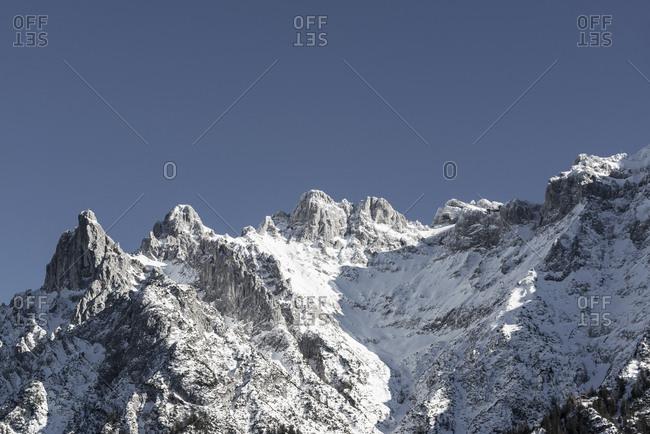 Germany- Bavaria- Viererspitze and Western Karwendelspitze in Karwendel mountains