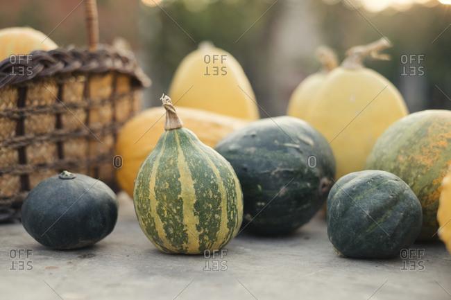 Autumn pumpkins on wood