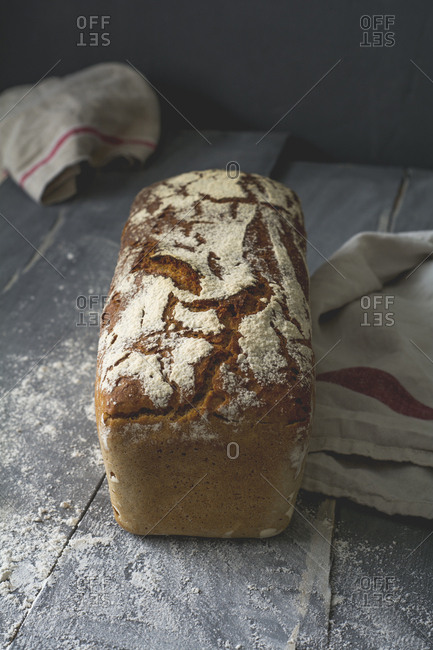 Home-baked rustic rye bread